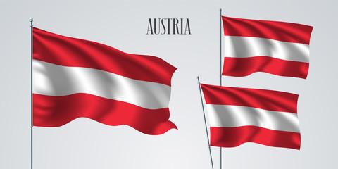 Austria waving flag set of vector illustration