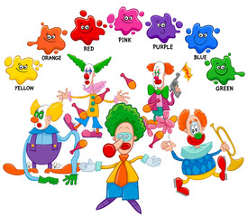 basic colors educational page with clowns