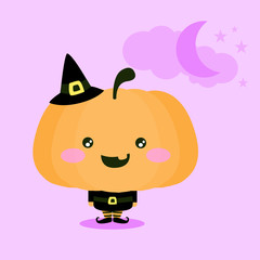 Halloween illustration of a cute kawaii pumpkin in a witch costume for Halloween. The background is purple with some clouds, stars and a Moon. Childish design for the whole family. Trick or treat?