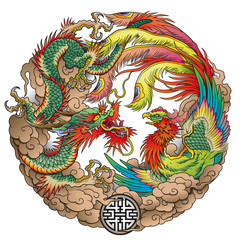 oriental dragon and phoenix