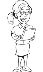 Black and white illustration of a woman holding a laptop computer.