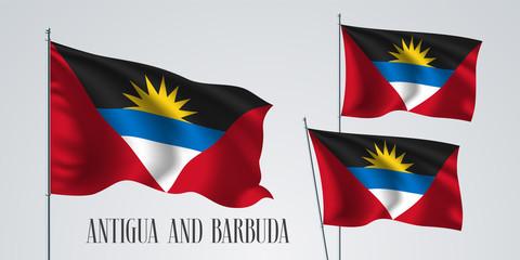 Antigua and Barbuda waving flag set of vector illustration