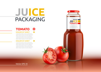 Tomato juice packaging realistic Vector mock up. Italian tomato sauce, seasoning or ketchup bottle advertise templates