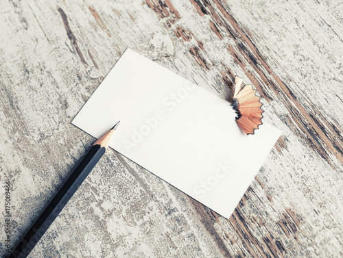 Sheet of paper and pencil on vintage wood table background blank sheet of paper and pencil on vintage wood table background blank business card reheart Gallery
