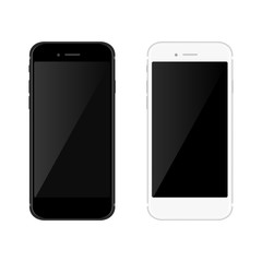Realistic black and white mobil phone smartphone