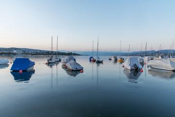 yachts on morning lake
