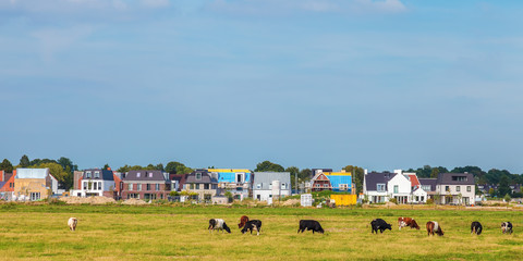 Construction of new houses in the province of North Holland near Amsterdam