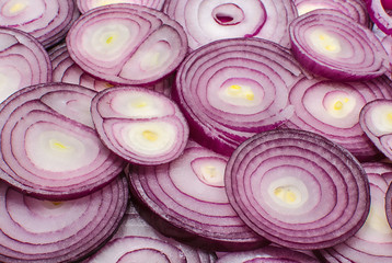 Sliced red onion rings closeup
