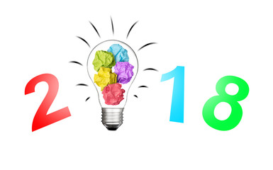 Text 2018 with Light bulb and colorful paper crumpled  isolated on white background object design christmas happy new year idea business innovate achievement concept