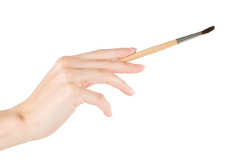 Woman hand holding brush. Isolated on white with clipping path