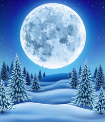 Winter Forest with moon