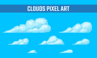 Set of pixel clouds on blue background