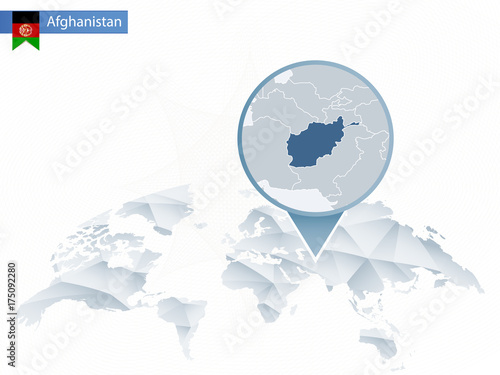 Abstract rounded World Map with pinned detailed Afghanistan map ...