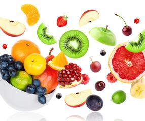 Mixed fruits falling