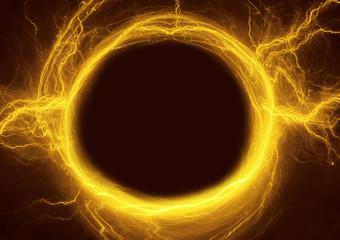 Golden plasma lightning frame with copy space