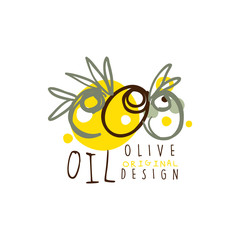 Olive Oil Label With Some Olives Hand Drawn On White background vector illustration