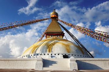 Nepal. Stupa Bouddanath in Kathmandu, close-up on a sunny day
