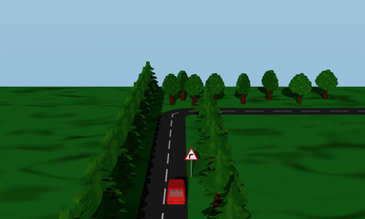 Ansicht der Straßensituation Kurve Rechts  mit  deutschem Verkehrsschild und roten Auto.