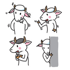 Set of Goat Cartoon Characters, group 3 - Vector Illustration