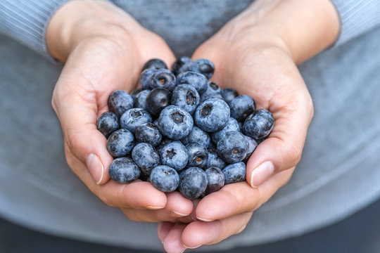 Blueberries blue berries fruits fresh presented in woman hands with soft vivid colors close up detailed macro. Concept for healthy vegan vegetarian lifestyle.