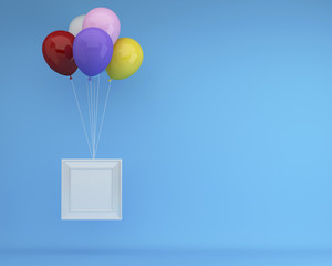 Colorful Balloons Floating with white picture frame on blue background. minimal concept idea.