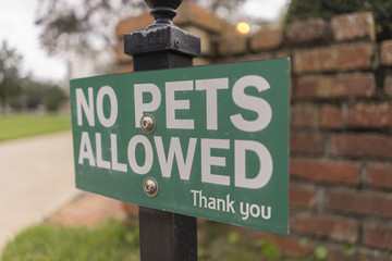 Green No Pets Allowed Sign