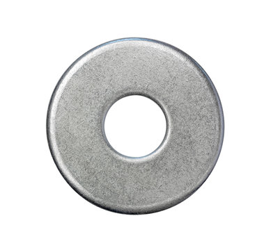 steel washer isolated on white background, top view closeup