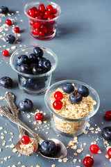 granola, oatmeal and fresh juicy berries cranberries and blueberries, concept of vegetarian healthy eating