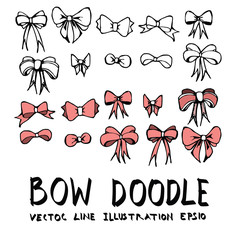 Hand drawn bow isolated. Vector sketch black and white background illustration icon doodle eps10