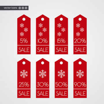 5 10 15 20 25 30 50 90 percent off shopping tag vector icons. Isolated discount winter symbols. Illustration signs set for christmas sale, advertisement, marketing project, business, shop, store