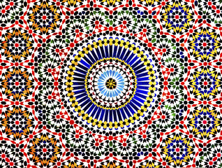 The colorful geometric patterns of an Islamic mosaic decorate the walls of a kasbah in the Atlas Mountains of Morocco.