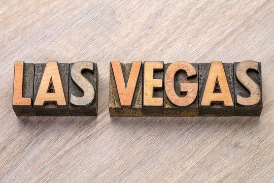 Las Vegas word abstract in letterpress wood type