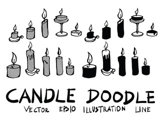 Hand drawn candle isolated. Vector sketch black and white background illustration icon doodle eps10