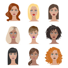 Female hairstyles set.