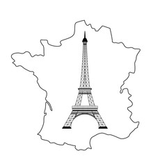 eiffel tower and map on white