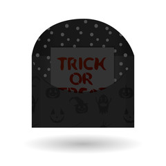 Dark envelope vector illustration with a note inside. Trick or treat Halloween reminder