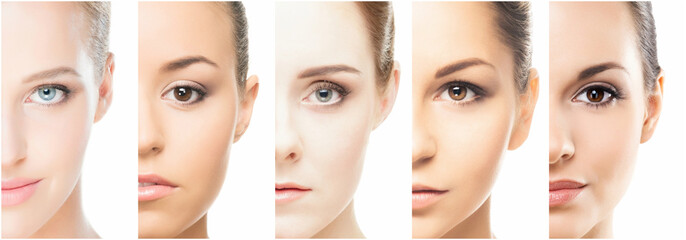 Collage of perfect faces. Various female portraits. Face lifting and skincare concept.