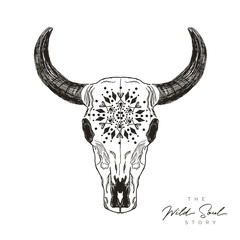 Bohemian bull skull with pattern - hand-drawing