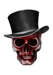 skull with top hat.Ghost,Grim,Death,Halloween,dark painting.illustration.