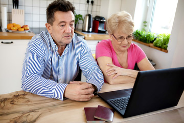 The senior couple surfing the internet with laptop computer