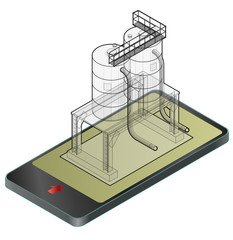 Outlined gasoline cistern, isometric building in mobile phone. Diesel, fuel supply resources. Gas tank on pillars in communication technology, paraphrase. Water reservoir. Isolated master vector icon.