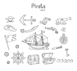 Hand drawn illustration coloring book Pirate set with ship, map, anchor, flag, helm, chest, telescope, compass isolated on white