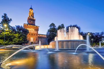 Fototapete - Sforza Castel at night in Milan, Italy