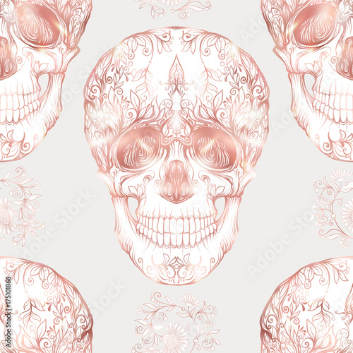 Seamless Pattern Background With Human Skull In Rose Gold Colors
