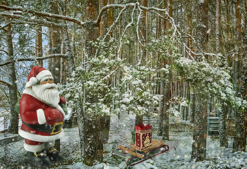 Christmas story: Santa Claus with gifts near the Christmas tree. 3 D rendering.