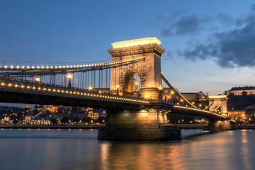 Beautigul long exposure shot of famous Chain Bridge in Budapest at dusk
