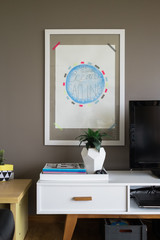 Artwork placement in contemporary lounge
