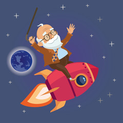 active old man flying rocket in the starry sky. vector