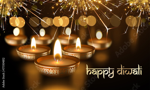happy diwali indian lights festival holiday greeting card template hindu diwali sanskrit lettering text ornament