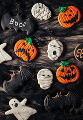 Halloween Biscuits over a Black Spider Web
